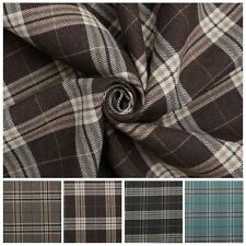 TRADITIONAL TARTAN CHECK SOFT TWILL COTTON FAUX WOOL CUSHION UPHOLSTERY FABRIC