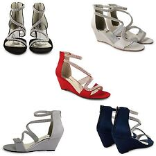 WOMENS WEDDING SANDALS LADIES PROM WEDGE HEEL DIAMANTE SATIN PEEP TOE SHOES SIZE