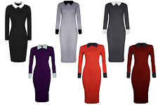 New Womens Contrast Peter Pan Collar Long Sleeve Pencil Midi Bodycon Dress 8-22