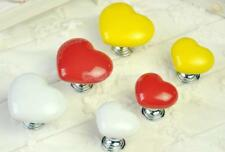 1x Ceramic LOVE Heart Cabinet Knob Wardrobe Door Drawer Bin Handle Pull Hardware