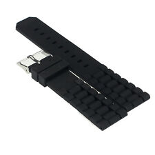 For Fossil Nate Mens Watchband Black Silicone Rubber Diver Watch Strap 20-22mm