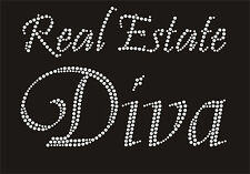 Real Estate DIVA Rhinestone iron on transfer Color red, green royal blue, go 14