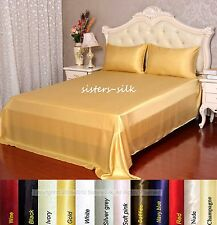 19 Momme 100% Pure Silk Fitted Sheet Flat Sheet Pillowcase Set King Size