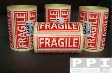 LARGE RED FRAGILE Labels On Roll 100x38 FRA-11-ROLL White Letters Red Background