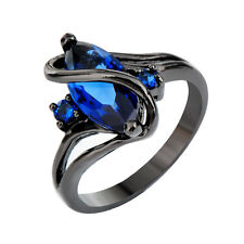 10KT Marquise Cut Blue Sapphire CZ Jewelry Black Gold Filled Wedding Ring Sz6-10