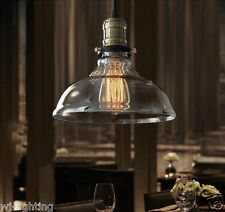 LED Modern Clear Glass Lampshade Ceiling Vintage Retro Chandelier Pendant Light