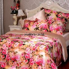 19Momme 100% Pure Silk Duvet Doona Cover Fitted Flat Sheet Set Queen Size JHF13