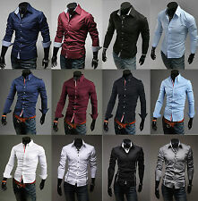 New Mens Luxury Casual Slim Fit Stylish Formal Dress Shirts Tops Tee Long Sleeve