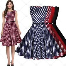 Womens Vintage 1950s Tunic Belted Flared Cocktail Party Casual Swing Dresses