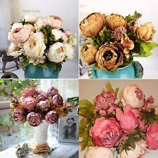 Home Artificial Bridal Bouquet Peony Silk Flowers Fake Leaf Wedding Party Decor