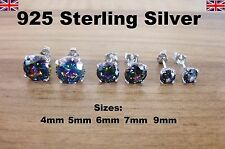 925 Sterling Silver - Mystic Topaz Round CZ Cubic Zirconia Stud Earrings