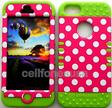 HYBRID SILICONE RUBBER + COVER CASE SKIN FOR IPHONE 5 WHITE DOTS ON PINK/LIME