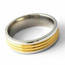 Mens stainless steel ring 8-12 engagement ring yellow band ring wholesale