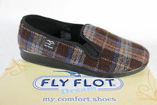 Fly Flot Mens Slippers, slippers, Slippers brown/ plaid fabric 880318 NEW