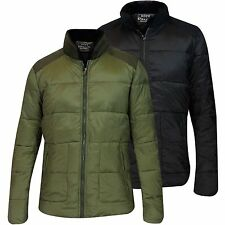 New Mens Puffer Padded Coat Sherpa Collar Suede Patches Winter Lined Zip Jacket