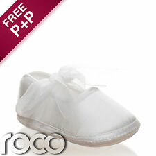 Baby Girls White Shoes Christening Wedding Party Toddler Soft Sole Pram Shoes