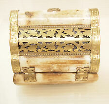 Vintage Camel Bone & Brass Trinket Jewelry Box Hinged Lidded  Wood Lined