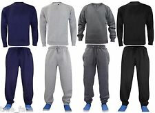 New Mens Fleece Plain Full Tracksuit Sweat Top & Jogging Bottom Joggers Set