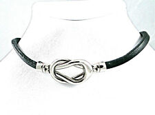 Leather Double Loop Bracelet OR Choker with Steel Knot Closure
