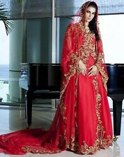 Red Muslim Wedding Dress Sweetheart Appliques Floor Length Islamic Bridal Gowns