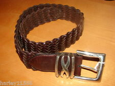"""BRIGHTON LEATHER BRAIDED BELT SIZE SMALL """"28"""" NWT SILVER PLATE HARDWARE!!"""