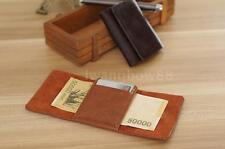 Genuine Leather Mens Wallet Money Clip Purse ID Credit Card Holder Case D4FM