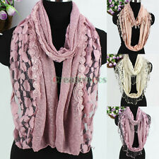 Womens Solid Color Dots Lace Mesh Stitching Long/Infinity Scarf Funky Tassel New