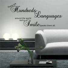World Smile Wall Quote Wall Art Sticker Decal Transfer Mural Stencil Decorations