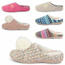 NEW WOMENS FAUX SUEDE WARM COMFY WINTER MULES LADIES SLIPPERS SHOES SIZES UK