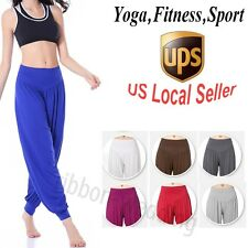 Fashion Women Stretch Plus Size YOGA Pants Aladdin High Waist Long Harem Pants