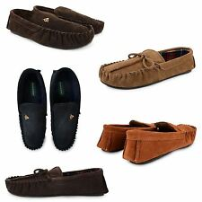 MENS DUNLOP REAL LEATHER SUEDE WARM WINTER SLIP ON MOCCASIN SLIPPERS SHOES SIZE