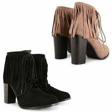 LADIES TASSELS FRINGE CHUNKY HEELS BOOTIES COWBOY ANKLE BOOTS LACE UP SHOES SIZE