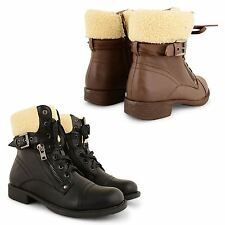 LADIES WOMENS FUR LINED COMBAT ARMY FLAT LOW HEEL WINTER ANKLE BOOTS SHOES SIZE