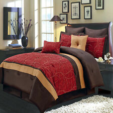 Atlantis Red Gold Chocolate Luxury 8 PC Comforter Set 100% Polyester Microfiber