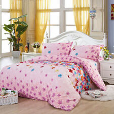 Pink Flowers Single Double Queen King Size Bed Set Pillowcase Quilt Duvet Cover