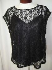 "PETER NYGARD Black Sheer Top w/Camisole ""Anything Goes"" Petites Shimmer NWT $69"