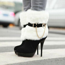 Fashion Womens Sexy Fur furry With Zipper Buckle Thin High-heeled Winter Boots