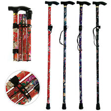 Foldable Walking Stick Colour Light Weight Aluminium Adjustable Cane 92cm