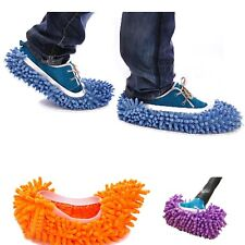 Womens Ladys Girl Single Chenille Mop Wipe Slippers Shoes Lazy Shoe Mop Caps Set