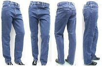 MENS JEANS REGULAR STRAIGHT FIT HEAVY DENIM WORK CASUAL  MIDWASH W30 32 34 36 38