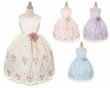 New Flower Girl Embroidered Dress Wedding Pageant Birthday Easter Bridesmaid 220
