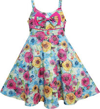 Sunny Fashion Girls Dress Sling Bow Tie Flower Princess Cotton Pink Size 3-10