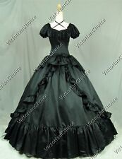 Victorian Gothic Black Dress Ball Gown Punk Theater Reenactment Clothing 206