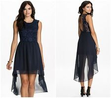 Sexy New Women's Mini Navy Blue Scoop Neck Lace Layered Open Back Party Dress