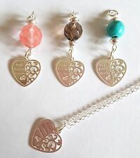 new sterling silver gemstone pendant necklace various best friends  / heart 18""