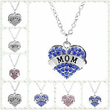 Heart-Shaped Pendant Necklace Mom/Sister Family Lovers Imitation Crystal Chain