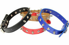 NEW FASHION THICK MEDIUM SIZE LEATHER SPIKED DOG COLLAR SPIKE STUDDED PET PUPPY
