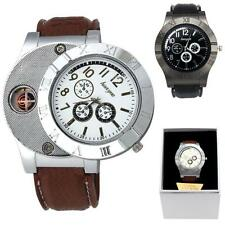 Windproof Casual Military Quartz Watch USB Cigarette Cigar Flameless Lighter