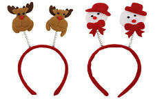 Christmas Hair Band Boppers Reindeer Rudolph Snowman Xmas Gift Stocking Filler
