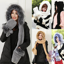 Winter Warm FAUX FOX FUR Ski HAT HOOD hats with scarf and mittens attached Glove